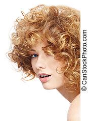 beleza, com, cabelo ondulado