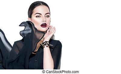 beleza, excitado, menina, desgastar, elegante, chiffon, dress., modelo moda, mulher, com, escuro, maquilagem