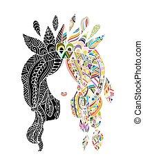 beleza feminina, desenho, retrato, étnico, seu