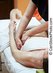 beleza, feriados, e, spa, conceito, -, mulher, em, spa, salão, começando massage