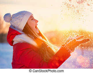 beleza, inverno, menina, tendo divertimento, em, inverno,...