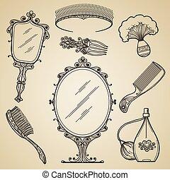 beleza, itens, maquilagem, mão, retro, vindima, desenhado