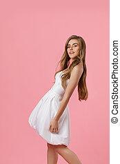 beleza, jovem, vestido branco, mulher