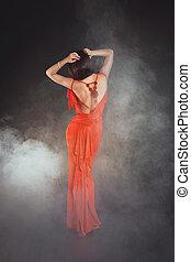 beleza, jovem, vestido, mulher, vermelho, excitado