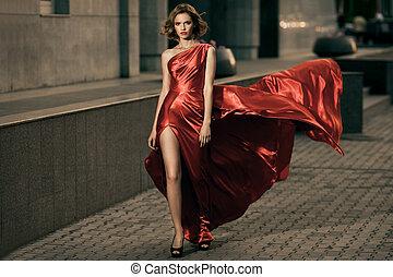 beleza, jovem, vestido, vibrar, mulher, vermelho, excitado