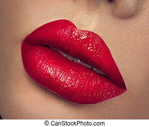 beleza, lips., maquilagem, lábios, closeup, excitado, vermelho
