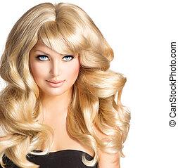 beleza, loiro, woman., bonito, menina, com, longo, cacheados, cabelo loiro