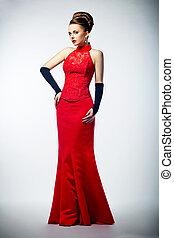 beleza, longo, noiva, luvas, pretas, vestido nupcial, vermelho