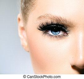 beleza, maquilagem, para, azul, eyes., parte, face bonita, closeup