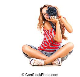 beleza, menina adolescente, fotógrafo, sentando, sobre, fundo branco