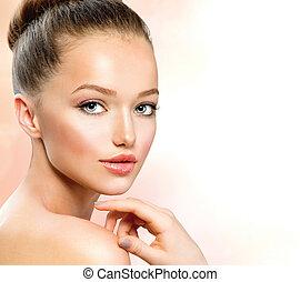 beleza, menina adolescente, retrato