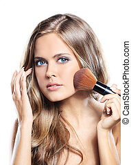 beleza, menina, com, escova maquiagem