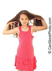 beleza, menina, com, saudável, cabelo longo