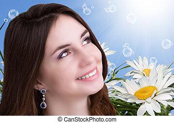 beleza, menina jovem, sobre, natureza