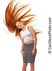 beleza, menina, portrait., saudável, longo, vermelho, hair., bonito, mulher jovem, isolado, ligado, um, fundo branco