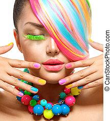 beleza, menina, retrato, com, coloridos, maquilagem, cabelo, e, acessórios
