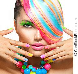 beleza, menina, retrato, com, coloridos, maquilagem, cabelo,...