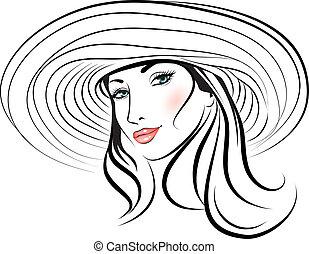 beleza, menina, rosto, em, um, chapéu
