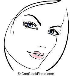 beleza, menina, rosto, vetorial, ícone