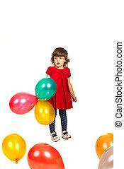 beleza, menina, segurando, balões