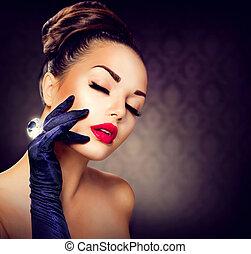 beleza, moda, menina glamour, portrait., vindima, estilo, menina