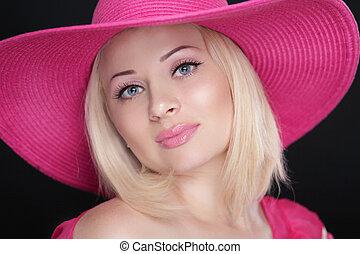 beleza, moda, menina, portrait., loura, femininas, em, cor-de-rosa, chapéu, isolado, ligado, pretas, experiência.