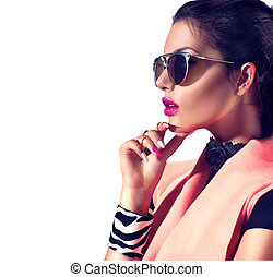 beleza, moda, morena, modelo, menina, desgastar, elegante, óculos de sol