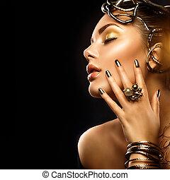 beleza, moda, mulher, com, dourado, maquilagem, acessórios, e, pregos