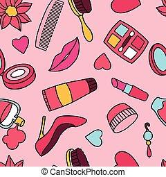 beleza, moda, seamless, padrão, com, cosmético, acessórios