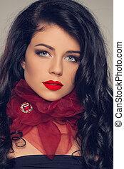 beleza, modelo, menina, com, cabelo marrom longo, e, lábios vermelhos
