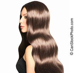beleza, modelo, menina, com, longo, saudável, cabelo ondulado, e, perfeitos, maquilagem