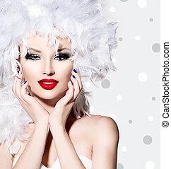 beleza, modelo moda, menina, com, branca, penas, estilo cabelo