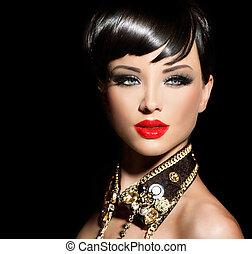 beleza, modelo moda, menina, com, cabelo curto