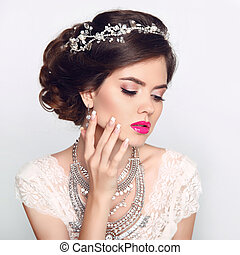beleza, modelo moda, menina, com, casório, elegante,...