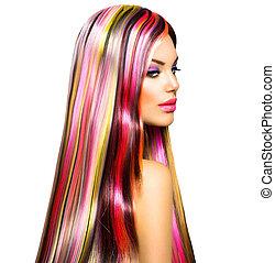 beleza, modelo moda, menina, com, coloridos, cabelo tingido