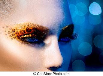 beleza, modelo moda, menina, com, feriado, leopardo, maquilagem
