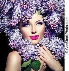 beleza, modelo moda, menina, com, lilás, flores, penteado