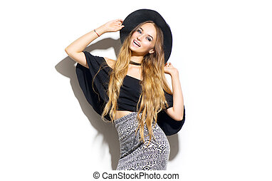 beleza, modelo moda, menina, desgastar, elegante, hat., excitado, retrato mulher