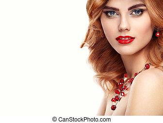 beleza, modelo moda, ruivo, menina, retrato