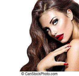 beleza, modelo, mulher, com, longo, marrom, cabelo ondulado