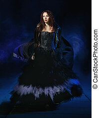 beleza, morena, desgastar, deslumbrante, vestido