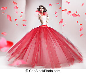beleza, morena, desgastar, na moda, vestido