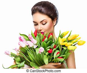 beleza, mulher, com, flor mola, buquet