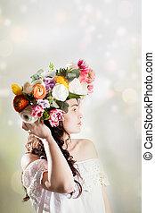 beleza, mulher, com, flores, penteado