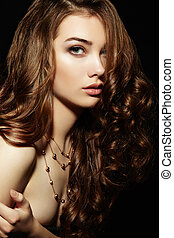 beleza, mulher, com, longo, cacheados, hair., bonito, menina, com, elegante, h