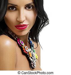 beleza, mulher, com, longo, pretas, hair.