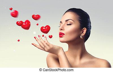 beleza, mulher, com, perfeitos, compor, soprando, valentine, corações