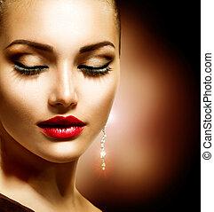 beleza, mulher, com, perfeitos, maquilagem