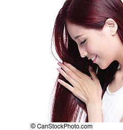 beleza, mulher, cuidado cabelo, conceito