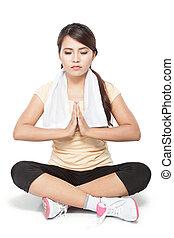 beleza, mulher, fazendo, ioga